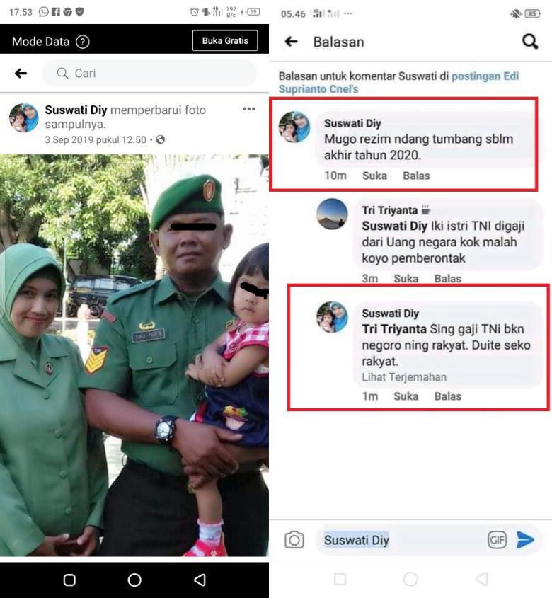 Oknum Istri TNI Ingin Pemerintahan Presiden Jokowi Tumbang Sebelum Akhir Tahun 2020?