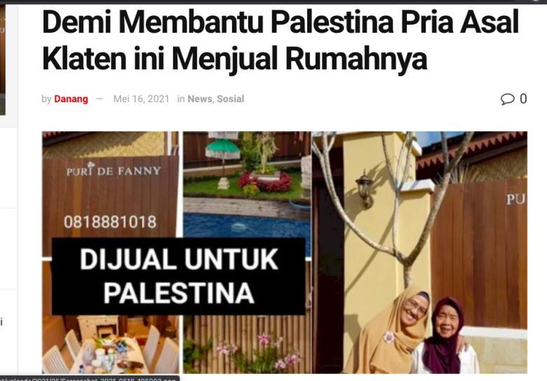 Warga Klaten Jual Rumah Untuk Sumbang Warga Palestina. Klaten Sudah Makmur Kah?