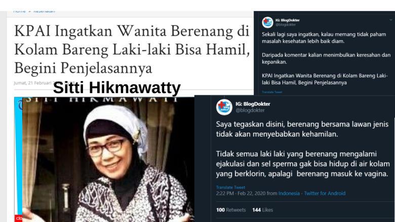 Hasil gambar untuk Perempuan Bisa Hamil Saat Berada di Kolam Renang, Begini Penjelasan Komisioner KPAI Sitti Hikmawatty