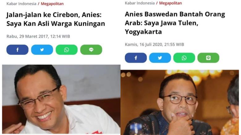 Anies Sangkali Asal Usul Demi Politik, Pilkada Ngaku Turunan Arab, Kini Ngaku Jawa!